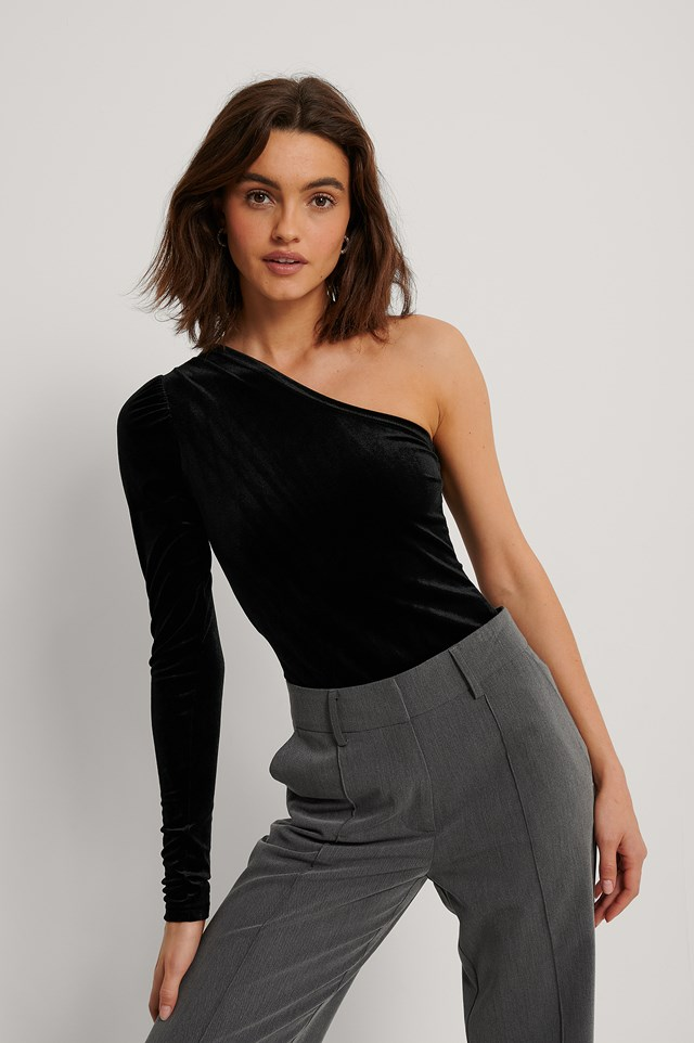 One Shoulder Velvet Top Black