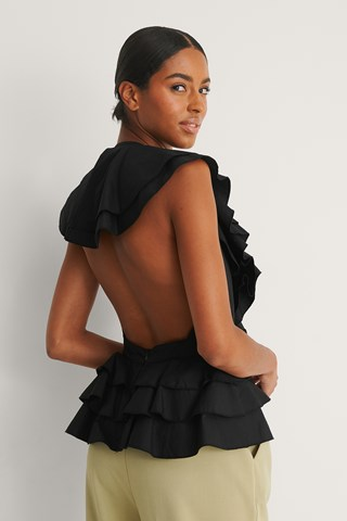 Black Open Back Flounce Top