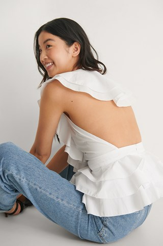 White Open Back Flounce Top