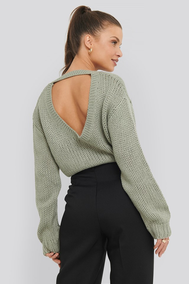 Open Back Knitted Sweater NA-KD