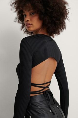 Black Open Back Rib Lace Detail Top