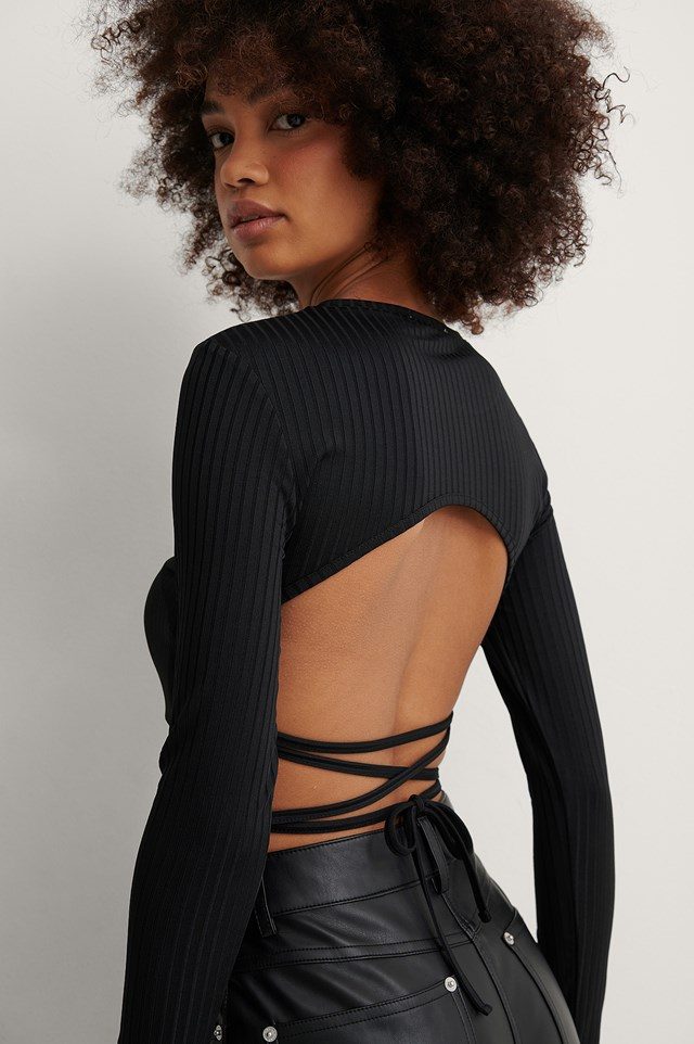 Black Open Back Rib Lace Detail Top