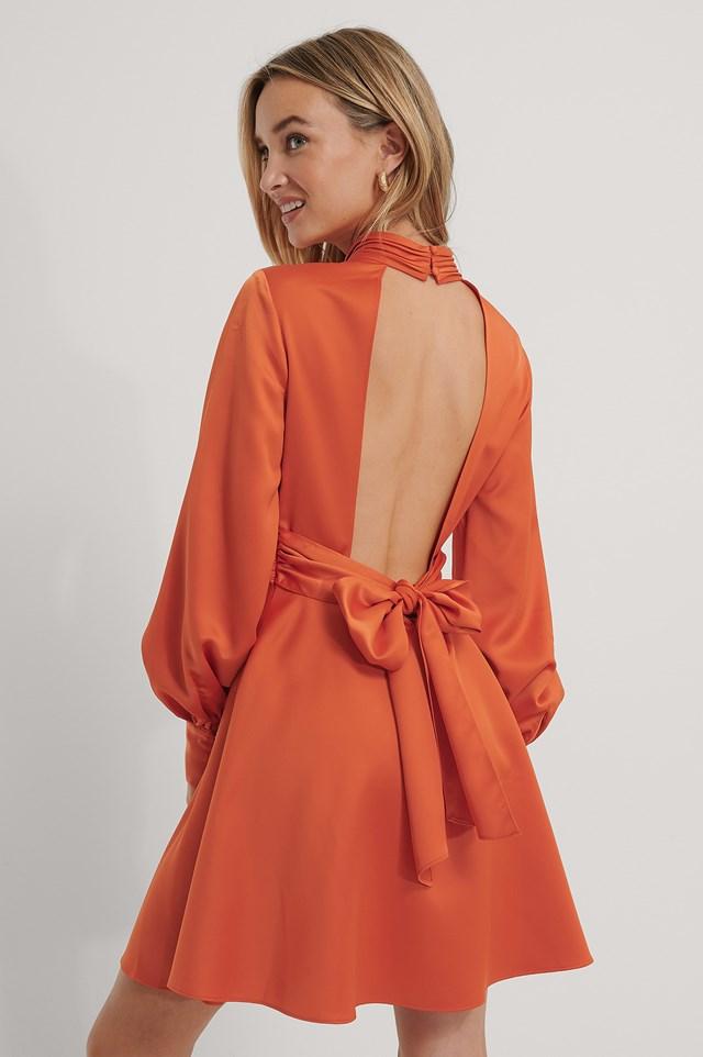 Open Back Satin Dress Burnt Orange