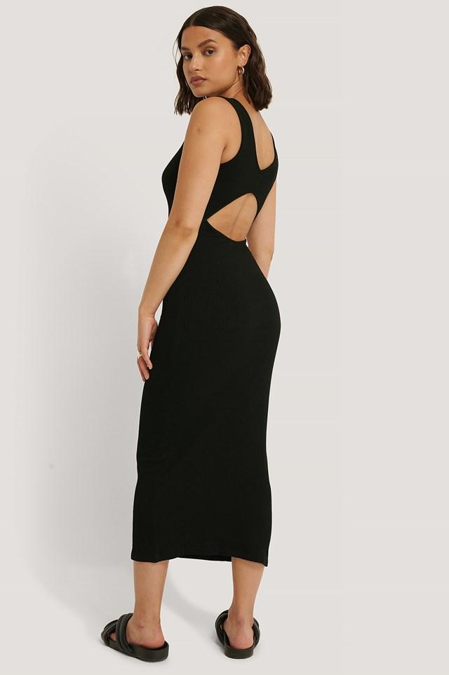 Open Back Sleeveless Dress Black