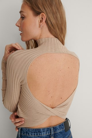 Light Beige Open Twisted Back Knitted Sweater