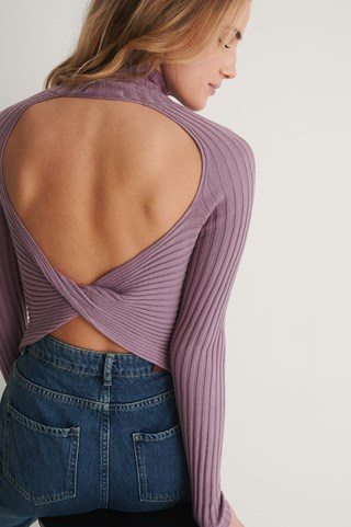 Grape Juice Open Twisted Back Knitted Sweater