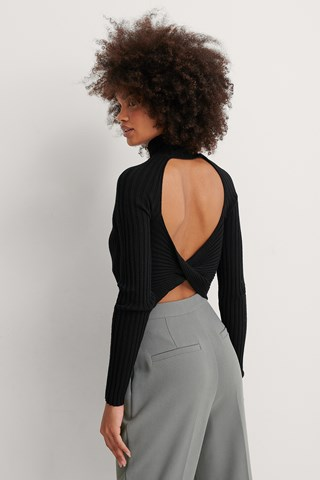 Black Open Twisted Back Knitted Sweater