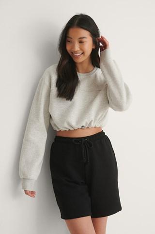 Grey Melange Organic Brushed Cropped Sweatshirt