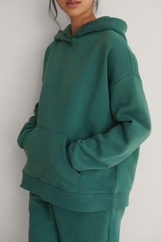 Green Organic Brushed Pocket Detail Hoodie
