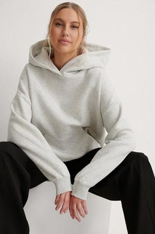 Grey Melange Organic Brushed Pocket Detail Hoodie