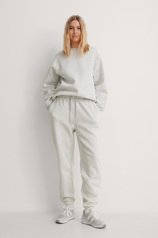 Grey Melange Organic Brushed Tapered Sweatpants