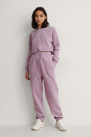 Dusty Lilac Organic Brushed Tapered Sweatpants