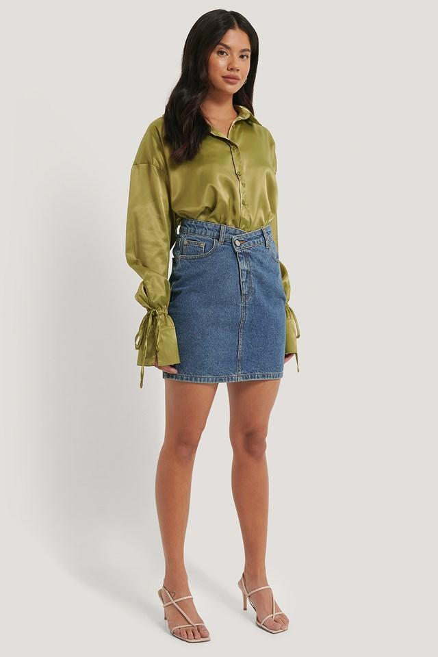 Organic Cotton Asymmetric Denim Skirt Mid Blue