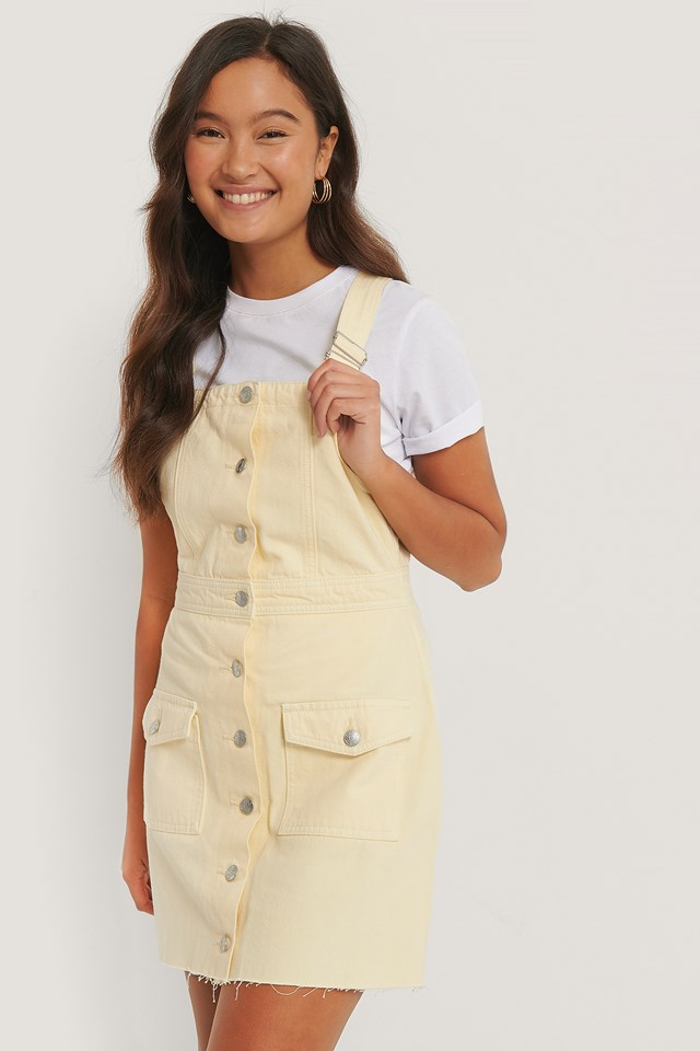 Organic Cotton Colored Denim Dress Yellow