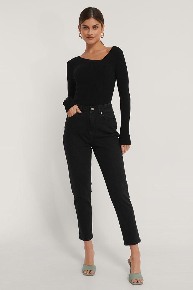 Comfort Mom Jeans Black