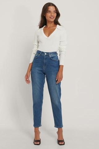 Mid Blue Comfort Mom Jeans