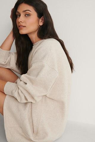 Beige Melange Organic Oversized Sweatshirt Dress