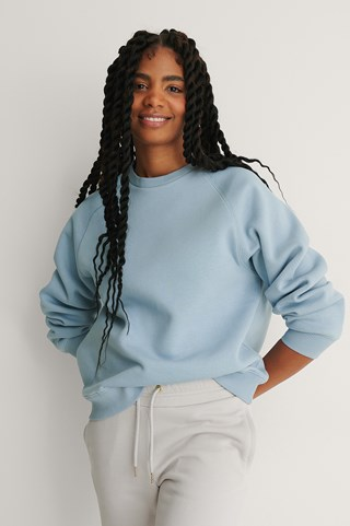 Dusty Blue Organic Raglan Sleeve Sweatshirt