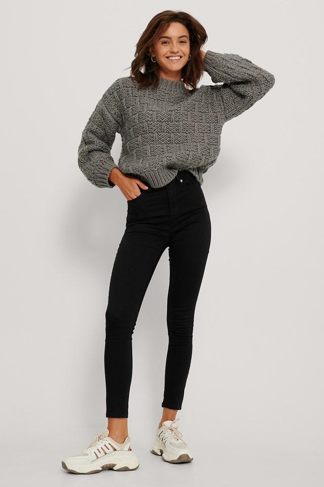 Organic Skinny High Waist Jeans Black