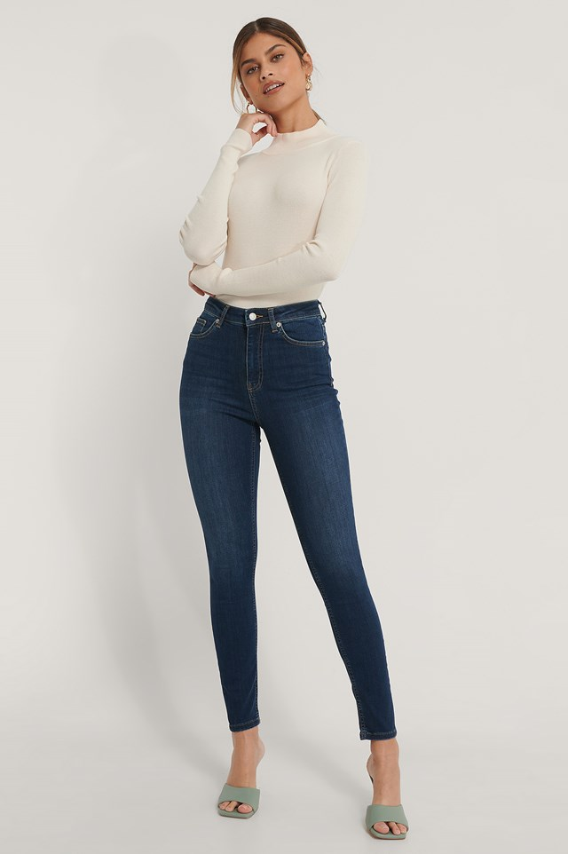 Organic Skinny High Waist Jeans Dark Blue