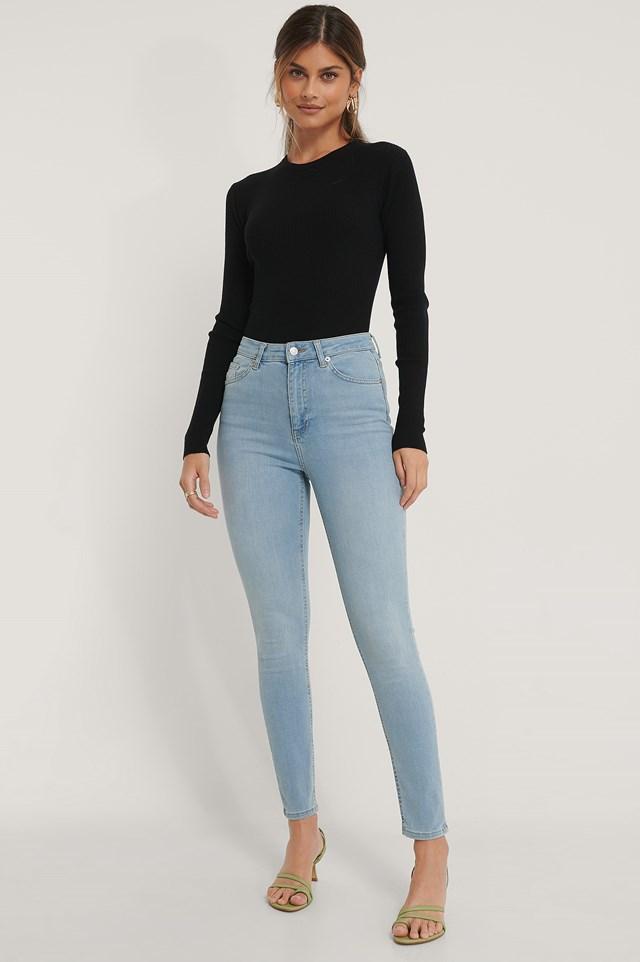 Organic Skinny High Waist Jeans Light Blue