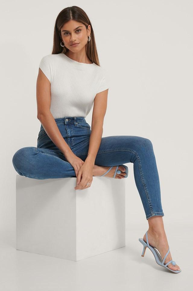 Organic Skinny High Waist Jeans Mid Blue