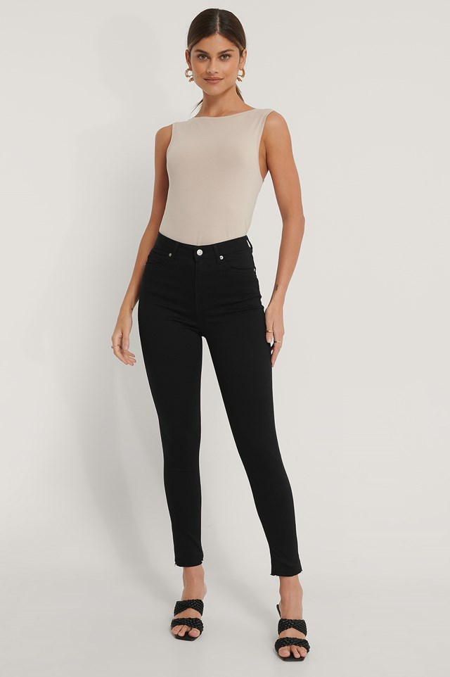 Organic Skinny High Waist Open Hem Jeans Black