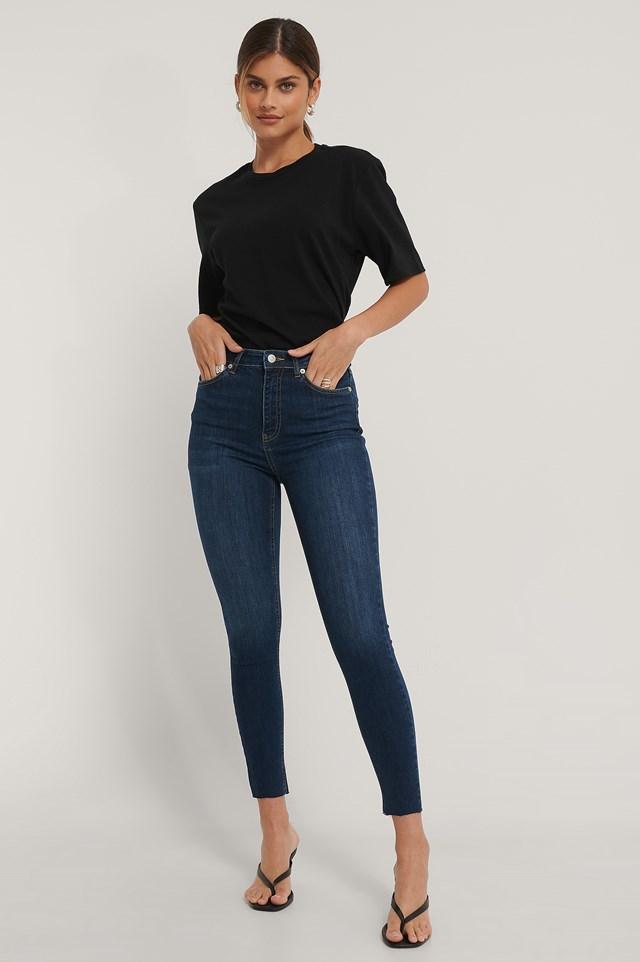 Skinny High Waist Raw Hem Jeans Dark Blue