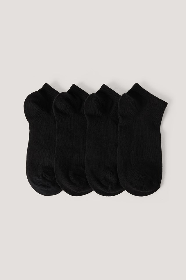 Organic Invisible Sneakers 4 pack Black