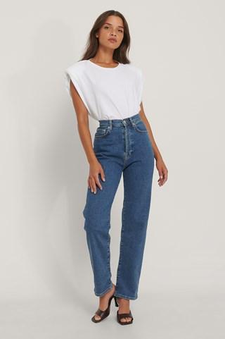 Mid Blue Organic Straight High Waist Jeans