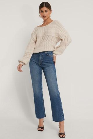 Mid Blue Straight High Waist Raw Hem Jeans