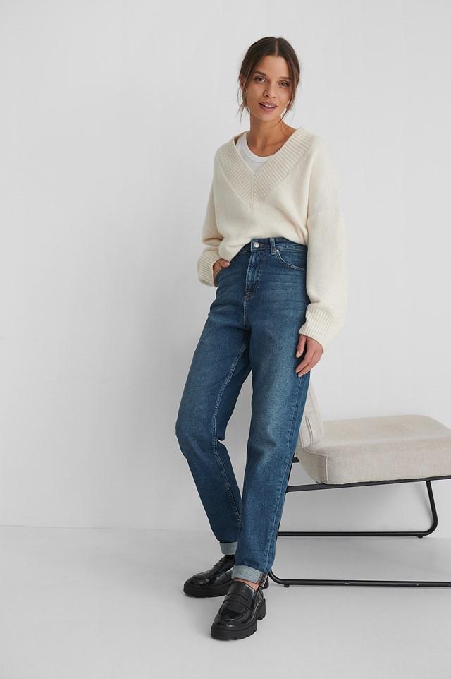 Organic Turn Up Mom Jeans Mid Blue