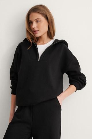 Black Organic Zip Detail Hoodie