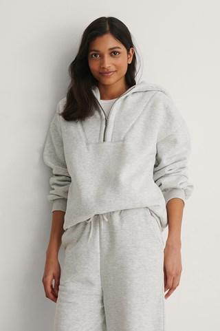 Grey Melange Organic Zip Detail Hoodie