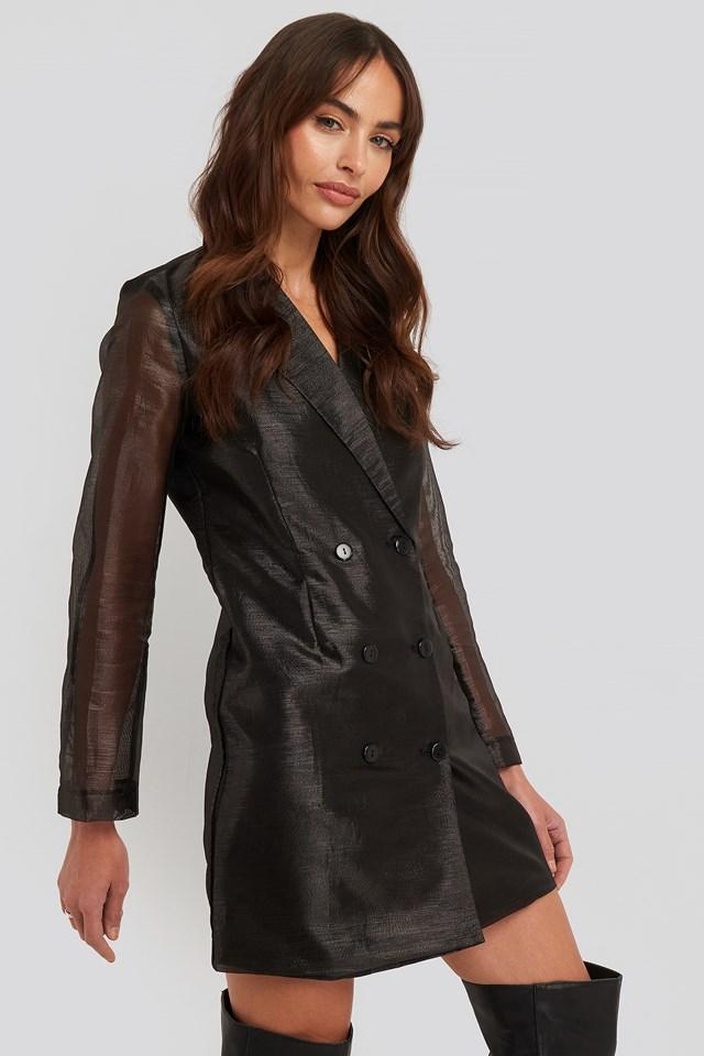 Organza Blazer Dress Black