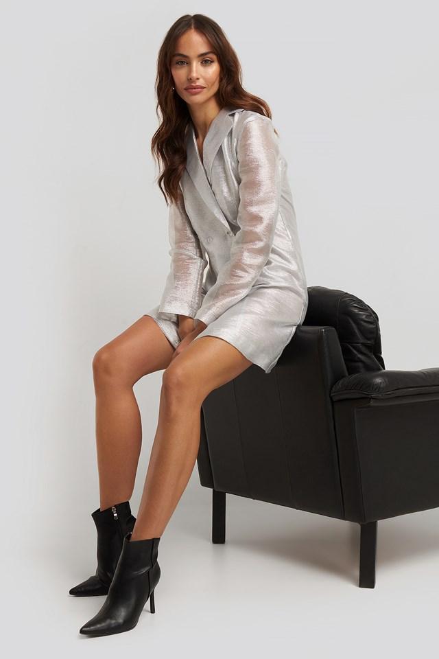 Organza Blazer Dress Silver
