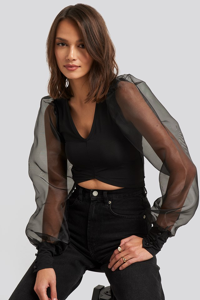Organza Cropped Blouse NA-KD Party