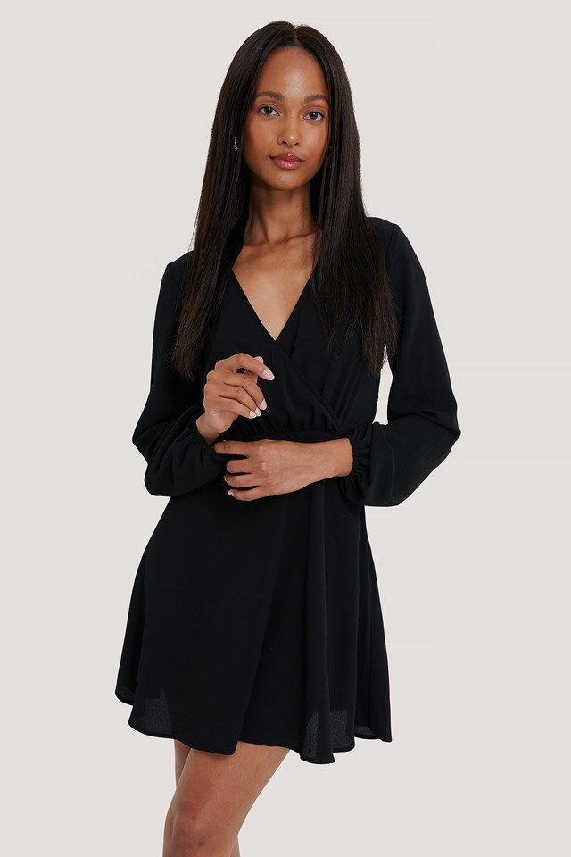 Overlap Balloon Sleeve Crepe Dress Black