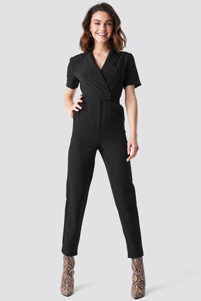 Overlap Collared Jumpsuit Black