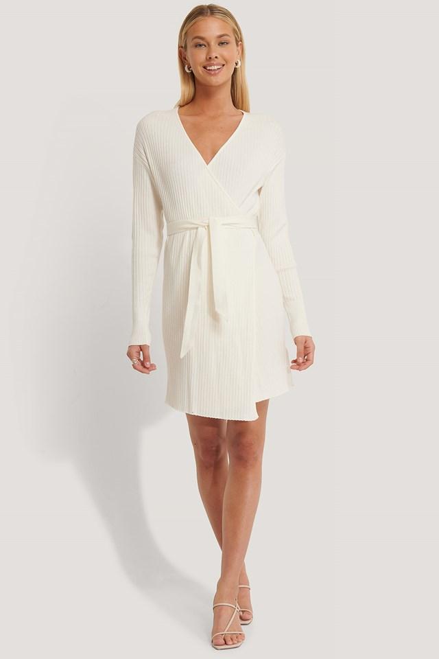 Overlap Knitted Dress Offwhite