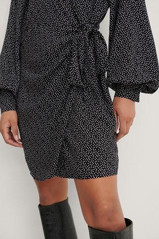 Polkadot Black/White Overlap LS V-Neck Dress