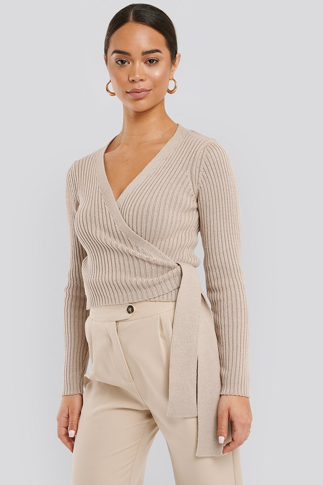 Overlap Ribbed Knitted Sweater Beige