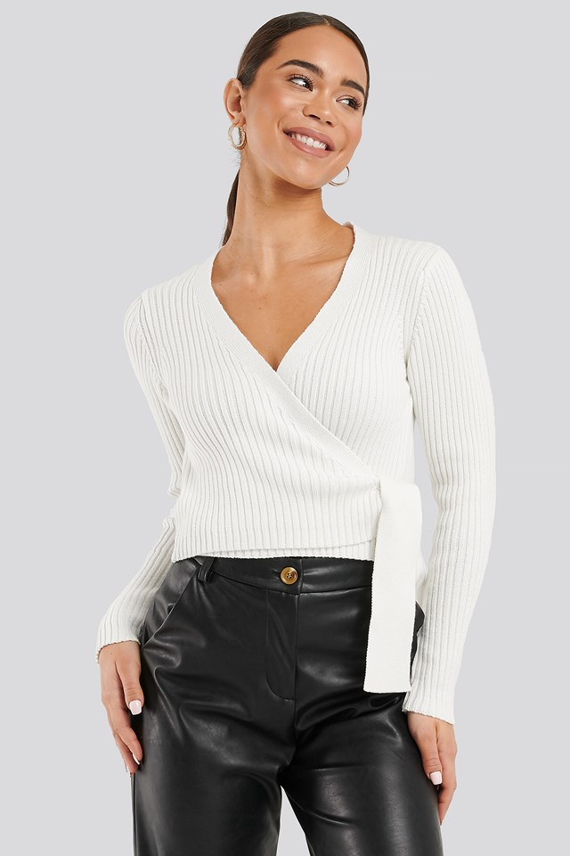 Overlap Ribbed Knitted Sweater Offwhite
