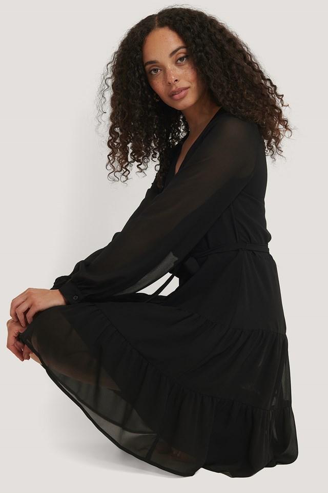 Overlap Ruffled Chiffon Dress Black