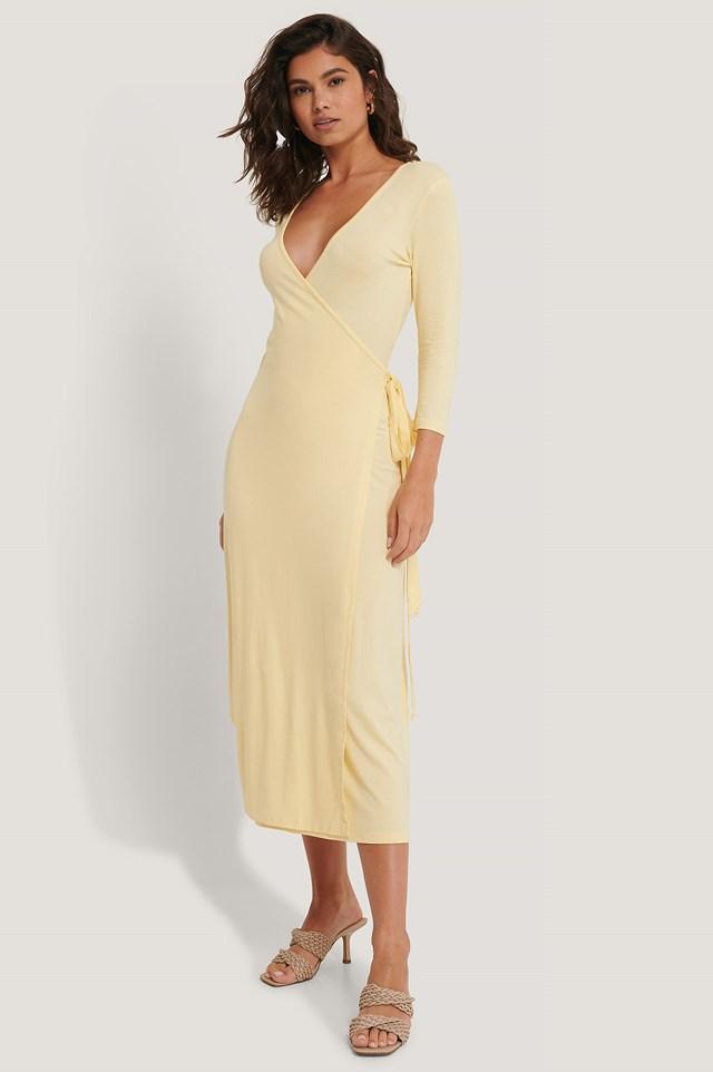 Overlap Tie Dress Yellow
