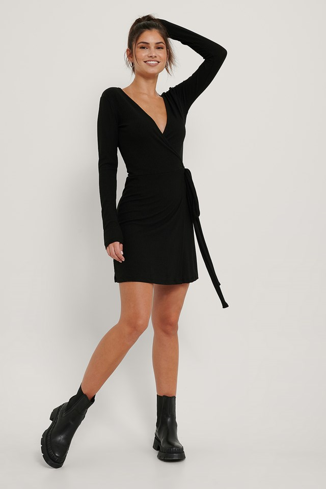 Recycled Overlap Tie Short Dress Black