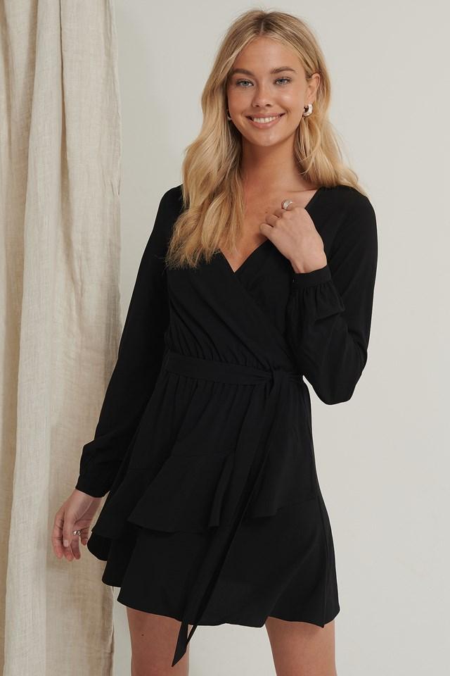 Overlapped Detail Frill Mini Dress Black