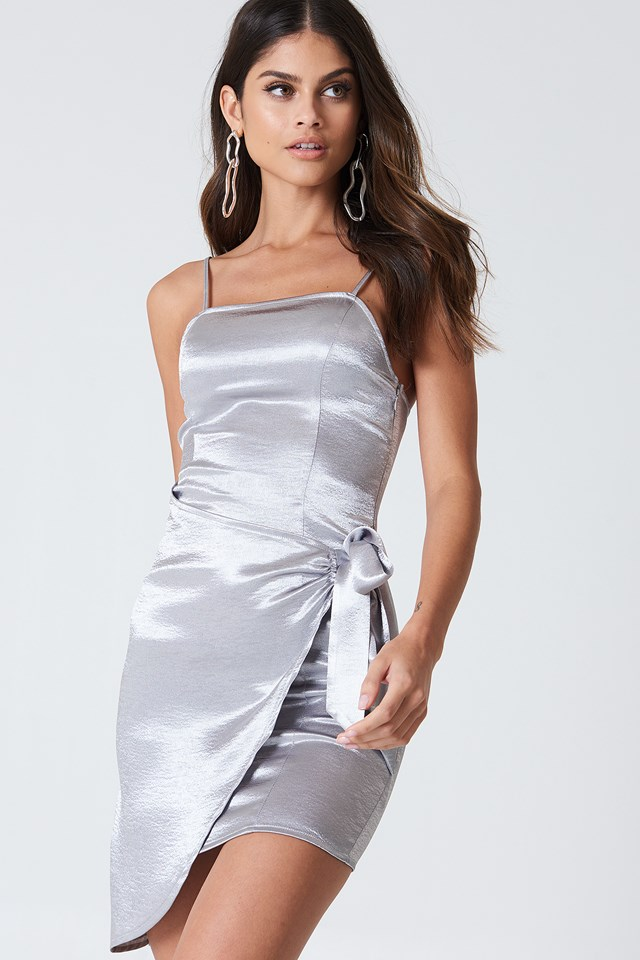 Overlapped Tie Front Dress Silver