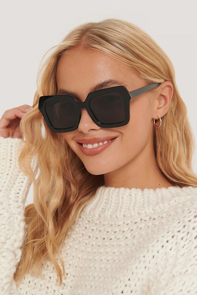 Oversize Retro Squared Edge Sunglasses Black