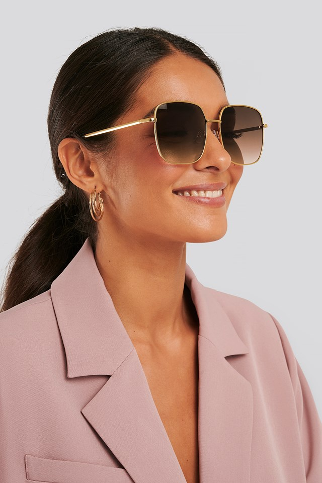 Oversize Retro Sunglasses Gold
